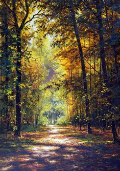 🇷🇺 Autumn road in Russia by Victor Yushkevich [painting] cr. Watercolor Landscape, Landscape Art, Landscape Paintings, Summer Painting, Autumn Scenery, Nature Pictures, Amazing Nature, Beautiful Landscapes, Nature Photography