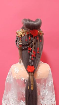30 simple vintage braid hairstyles, to be an ancient Chinese princess Cute Hairstyles For Teens, Braided Hairstyles Tutorials, Teen Hairstyles, Braid Hairstyles, Vintage Hairstyles, Chinese Hairstyles, Hanfu, Braids, Hair Color