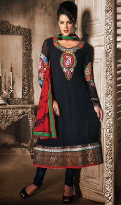 Glamorous Jet Black Georgette Kalidar Suit Intrigue your on lookers by dressing into this jet black faux georgette kalidar suit. Kameez flaunts embroidered foliage patterns on neck patch. Contrasting foliage patterned hemline adds essence to the look of the attire. #BuyPlusSizeAnarkaliChuridar  #BuyAnarkaliChuridarSuitOnline