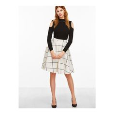 SheIn(sheinside) White Grid Pocket Side Flare Skirt ($17) ❤ liked on Polyvore featuring skirts, white, flared skirt, white circle skirt, white skater skirt, white plaid skirt and white flare skirt