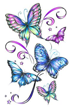 "Multicolor Glitter Butterfly Temporary Tattoo. This is a 5"" x 7"" temporary tattoo of a blue and purple glitter butterfly. Glitter Temporary Tattoos with Butterflies are very beautiful. Butterfly Temporary Tattoos are extremely popular and we have the best designs all in one place. Temporary Tattoos with Butterflies are always a perfect choice. Come on over to our facebook page and like us for more updates and specials. https://www.facebook.com/pages/sexytemporarytattooscom/245799178856323"
