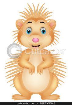 Cute porcupine cartoon  stock vector clipart, Vector illustration of Cute porcupine cartoon  by Teguh Mujiono