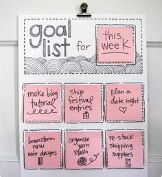 """To-do list"" board with spots for Post-its - Love it!  It would be so satisfying to pull the notes off when completed and crumple them up for the trash.  Or, if you're more visual than physical, you could have a ""Done"" list next to it to move the notes.  Could be satisfying, too, and good for that sense of accomplishment!"