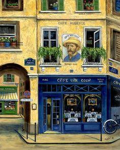 Street Scenes Painting - Cafe Van Gogh by Marilyn Dunlap Van Gogh Paintings, Shop Fronts, Cultural, Naive Art, Vincent Van Gogh, Coffee Shop, Beautiful Places, Street, Building