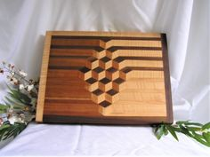 Wood Cutting Board Geometric Decor One Of A Kind Cutting Geometric Decor, Geometric Patterns, Charcuterie Display, Charcuterie Board, Wooden Diy, Wooden Boxes, Custom Woodworking, Woodworking Projects, The Carpenters