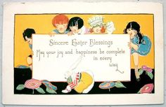 Art Deco CHILDREN & RABBIT on EASTER Postcard EMB Gold | eBay