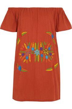 Sensi Studio - Off-the-shoulder Embroidered Crinkled-cotton Mini Dress -
