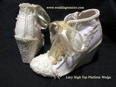 Bridal Platform Tennies in Ivory on White.   One of a Kind created for a bride in New York!