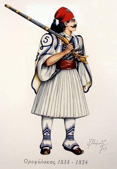 IMG_2946-1 Greek History, Art History, Ancient Greek Costumes, Greek Traditional Dress, Greek Independence, Greek Warrior, Crimean War, Greek Language, Greek Clothing