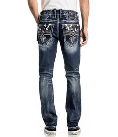 From Rock Revival&& these jeans feature& stylingCamo print flap back pocketsAlternate straight fitButton front with zipper flyCotton& washImported& Jeans Fit, Jeans Style, Jeans Pants, Trousers, Shorts, Rock Style Men, Rock Revival Jeans, Bra Lingerie, Denim Fashion