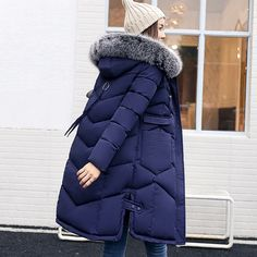 New Winter Down Coat Women 2017 Big Yard White Duck Down Jackets Detachable Fur Collar Fashion Hooded Female Winter Coat -*- AliExpress Affiliate's buyable pin. Locate the offer on www.aliexpress.com simply by clicking the VISIT button