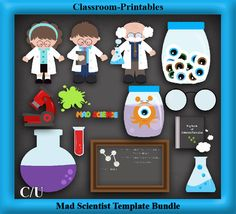 Clipart Templates for Scrapbooking.    Mad Scientist Clipart Template Bundle. For Digital Scrapbooking, Clipart, Creating Cards & Printables.    Comes PSD Format  For Use in Photoshop and Graphics Programs