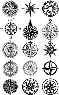 Vektor: Wind roses - nautical compass vector grunge collection