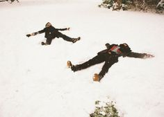 Aw yeah, snow angels! :D one of the many things people like me in the middle if nowhere can do in winter. (I love snow so much~)