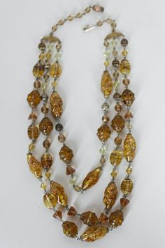 Vintage 50s Necklace / 1950s Amber Art Glass by FloriaVintage