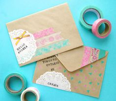 #washi tape envelopes.