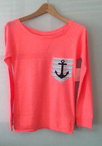 Chevron Zigzag Printed Pocket w Anchor Pink Shirt Size Small | eBay