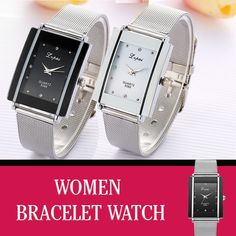 Women Bracelet Watch Silver Square Quartz Watch, Bracelet Watch, Band, Watches, Bracelets, Silver, Women, Wrist Watches, Bangles