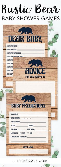 Rustic baby shower games for boys by LittleSizzle. Create meaningful keepsakes for the new mom with these printable bear baby shower game cards.