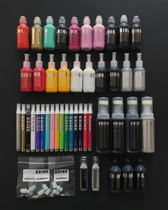 itsaliving Thank you so much @krinknyc  For all those who ask what kind of markers I use - Top to bottom  KRINK K-60, KRINK K-66, KRINK K-42, K-mops, KRINK K-63 & K-12 + extra tips. ❤️ #krinknyc #itsaliving Graffiti Supplies, Art Supplies, Graffiti Lettering, Graffiti Art, Graff City, Molotow Marker, Graffiti Spray Can, Howleen Wolf, Artist Materials