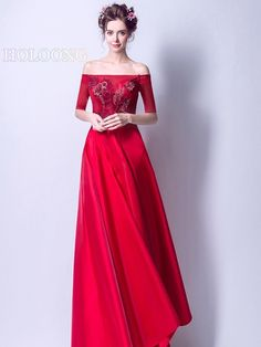 Bandage Traditional Long dress Half-sleeve Spring Embroidered Chinese Red Wedding Dresses Wedding Dress Brands, Wedding Dresses For Sale, Wedding Dress Styles, Wedding Colors, Half Sleeve Dresses, Half Sleeves, Evening Dresses, Formal Dresses, Sleeve Styles