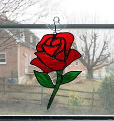 Red Rose Stained Glass Suncatcher - Rose Ornament - Valentines Day Gift - Anniversary Gift - Wedding Gift - Flower Suncatcher - Glass Flower by StainedGlassYourWay on Etsy Stained Glass Flowers, Stained Glass Designs, Stained Glass Projects, Stained Glass Patterns, Stained Glass Art, Stained Glass Windows, Window Glass, Broken Glass Art, Sea Glass Art