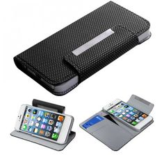 APPLE iPhone 5 Black Ball Texture Book-Style MyJacket Wallet (with card slot) (740)