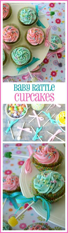 Baby Shower Food For Boy Cupcakes Cup Cakes Super Ideas - Baby Shower Ideas - Kuchen Baby Reveal Cupcakes, Baby Rattle Cupcakes, Baby Shower Cupcakes For Boy, Cupcakes For Boys, Baby Boy Cakes, Baby Shower Desserts, Girl Cupcakes, Baby Shower Cookies, Fun Cupcakes