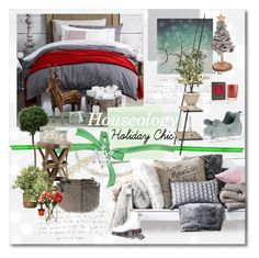 """""""Holiday Chic"""" by annmaira ❤ liked on Polyvore featuring interior, interiors, interior design, home, home decor, interior decorating, The Great British Card Company, Post-It, Andrew Martin and True Grace"""
