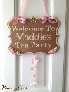 Tea Party Door Sign For Baby Shower Bridal Shower Birthday - Shabby Chic, Vintage Look, Victorian on Etsy, $39.16 CAD