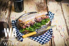 Cabernet Sauvignon, Sauce, Honey Mustard, Meat, Lettuce Leaves, Underwater