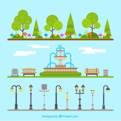More than a million free vectors, PSD, photos and free icons. Exclusive freebies and all graphic resources that you need for your projects Free Vector Images, Vector Free, Background Clipart, City Illustration, Environment Concept Art, Stop Motion, Types Of Art, Park, Graphic Design Inspiration