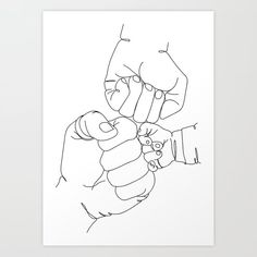 Family Hands Printable One Line Drawing Print Art Print by valleriaart Pencil Art Drawings, Art Sketches, Line Art, Mothers Day Drawings, Art Minimaliste, Family Drawing, Mother Art, Poster Prints, Art Prints