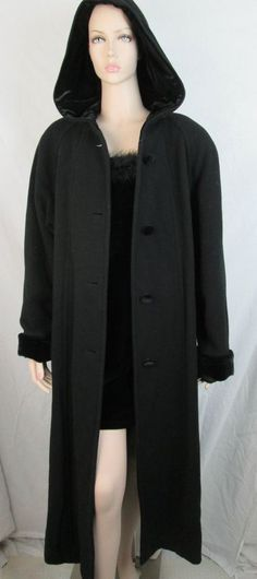 Long Black Hooded Sandro Wool Coat Russia Velvet Cuffs Button Up Sz 12 #SANDRO #BasicCoat