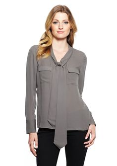 POLECI Long Sleeve Blouse with Self-Tie Neck Extensions - needs a big chunky bracelet