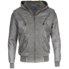 Core Spirit Grey Hooded Premium Leather Jacket