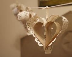 Punched Paper Heart Bunting - lining paper and brown paper