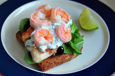 Smorrebrod: a Danish open-faced sandwich with flounder, shrimp, and basil sour cream