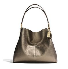 COACH MADISON SMALL PHOEBE SHOULDER BAG IN METALLIC LEATHER at www.herbergers.com