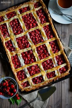 Cherry Slab Pie. Looks like it could use just a tad more top crust, but that's easy to add.  Looks yummy.