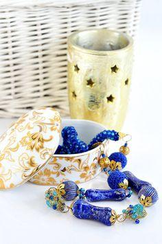 Ожерелье, Лазурит ожерелье, Голубое ожерелье, вязание крючком ожерелье, ожерелье Boho, длинное ожерелье, натуральный лазурит, природные камни, Талисман