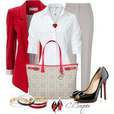 great outfit - wearable by business women of all ages.  But the little heart necklace is out of place with sophisticated attire.  How about Halo Necklace for a pop of color? See it at http://dreamstonz.com/product/halo-necklace/