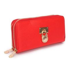 #fashion You Can Enjoy Wonderful Life With The Best Michael Kors Hamilton Continental Lock Large Red Wallets!