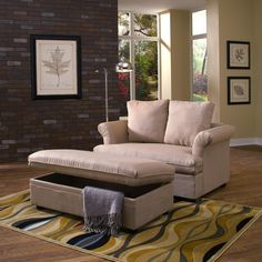 Image Of Oversized Ottoman With Storage Chair And A Half Tail