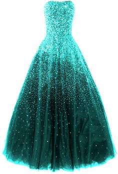 Blingy teal ballgown!! beautiful wish I could go to a ball like Cinderella :)