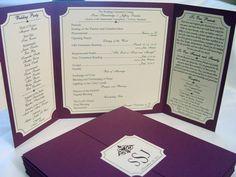 The Katherine - Custom Gate-fold Wedding Program **shown in smooth plum**