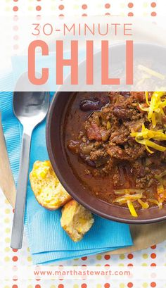30-Minute Chili | Martha Stewart Living - This easy chili recipe makes eight one-cup servings, plus enough for four servings of our Cheesy Hash-Brown Bake, a stick-to-your-ribs meal for later in the week.