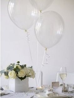 Crystal White Balloons...add glitter and silver ribbon