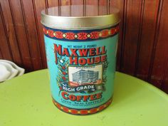 Vintage 1979 Cheinco Maxwell House Coffee Advertising Tin Canister Storage by peacenluv72 on Etsy