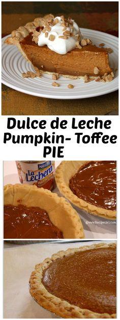 Dulce de Leche Pumpkin- Toffee Pie recipe - from RecipeGirl.com